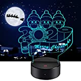 HANDSONIC 2020 Christmas Ornaments Quarantine Survivor Family Night Light, Christmas Decorations Night lamp with 16 Colors Optical Illusion Touch and Remote Control, for You and Your Family