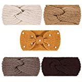 Whaline 5 Pieces Knit Headbands Winter Ear Warmers, 4 Elastic Turban Head Wraps and 1 Pearl Crochet Hair Band, Hair Scrunchies Scarves for Women Girls (Yellow Brown Colors)
