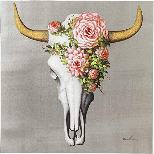 Kare Design Bild Touched Flower Scull, XXL Leinwandbild auf Keilrahmen, Wanddekoration mit Geweih, bunt, Silber (H/B/T) 80x80x4cm