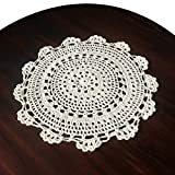 gracebuy 11 Inch Beige Round Handmade Crochet Lace Tablecloths Doilies