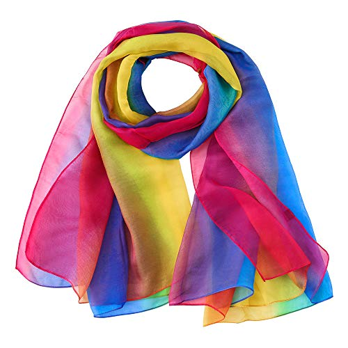 CAOQAO Mode Regenbogen Druck Farbe Lange Weiche Frauen Chiffon Wrap Stola Strand Sonnencreme Schal Umschlagtücher