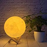 RYZAN 3D 7 Color Changing Moon Light with Stand for Bedroom Lights for Adults and Kids Home Room Beautiful Moon Lamp for Indoor Lighting(15CM), White, Pack of 1