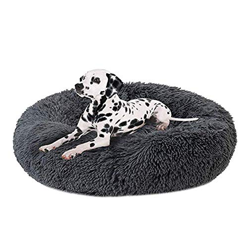 Lbobbo Luxuriöse Orthopädische Haustier Hund Katze Beruhigendes Bett, Plüsch Atmungsaktiv Runde Hundebett, Donut-Form-Schlafsack, Geeignet Für Katzen Mittlere Und Große Hunde (grau) (120cm)