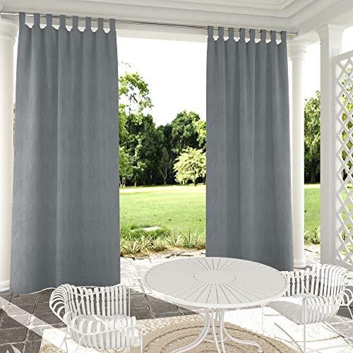 JHome Outdoor Vorhang für Terrasse, solide Schlaufen-Fenstervorhang, hält Privatsphäre für Pergola/Gartenlaube, Seil-Raffhalter enthalten (1 Panel, grau, 132,1 x 304,8 cm)