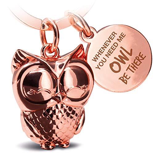 FABACH Eule Schlüsselanhänger Owly mit Gravur - Süßer Schlüsselanhänger Eule - Freundschaft und Liebe Glücksbringer aus Metall für Frauen in Rosegold - Whenever You Need me owl be There
