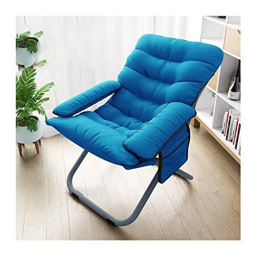 Chaise Pliante Bleu Lazy Couch Lavable Ordinateur Canapé Chaise Salon Salon Fauteuil Inclinable Multifonctionnel Chaise Coussin