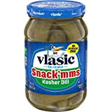 Six 16 fl oz jars of Vlasic Snack'mms Kosher Pickles Dill Minis Perfectly crunchy bite-sized Kosher dill pickles Mini pickles have a classic dill flavor with a tart and crunchy taste Snack pickles have 0 calories and contain no artificial flavors Res...