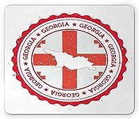 """7.1"""" X 8.7""""ジョージア州のマウスパッド、ジョージア州の地図とビンテージのコンポジションの旗の地図、長方形の滑り止めのゴム製マウスパッド、標準サイズ、ダークコーラルダークサーモンと白"""