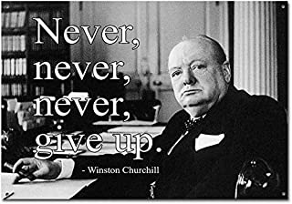 Not Applicable Metal Tin Sign Decor Iron Painting Privately Available Inspirational Winston Churchill Quote Never Give Up Vintage Retro