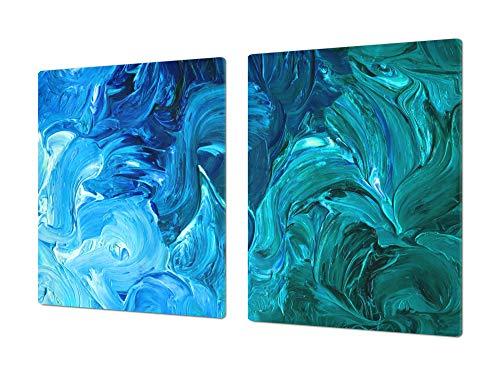 Cubre vitro de Cristal Templado de Gran Tamaño – Protector de encimera apaisado – UNA Pieza (80 x 52 cm) o Dos Piezas (40 x 52 cm) Serie Abstracta DD14