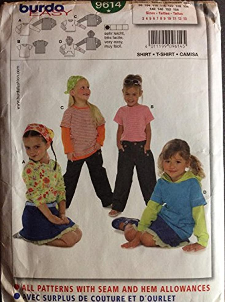 Burda Easy 9614 Girls Pattern Top and Hooded Shirt sizes 3-13