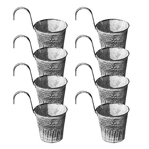DASNTERED - Fioriere in ferro da stiro, da appendere, per vasi da fiori, stile vintage, con gancio per ringhiera, antiruggine, per balconi