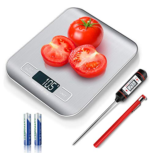 Food Digital Kitchen Scale with Meat Thermometer Instant Read Food Scale Measures in Grams and oz for Cooking Baking 1g/01oz Precise Graduation Coffee Scales Grams Calculator
