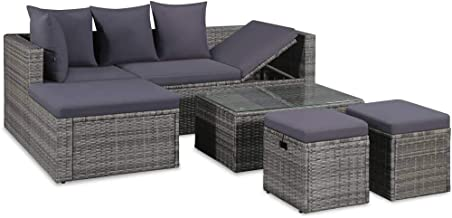 vidaXL 8 Piece Garden Lounge Set with Cushions Outdoor Corner Centre Sofa Coffee Table Patio Furniture Relaxing Seat Poly ...