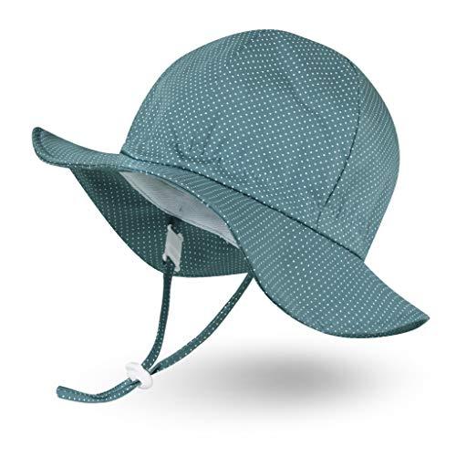 Ami&Li tots Unisex Child Adjustable Wide Brim Sun Protection Hat UPF 50 Sunhat for Baby Girl Boy Infant Kids Toddler - M: Polkadot Grayish Blue