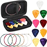 Yeshone Acoustic Guitar Strings Pick Holder Case Set 1 Set Multicolored Guitar Replacement Steel String 1 Pieces Guitar Pick Holder Case 9 Celluloid Guitar Picks in 3 Size (0.5 mm, 0.75 mm,1 mm)
