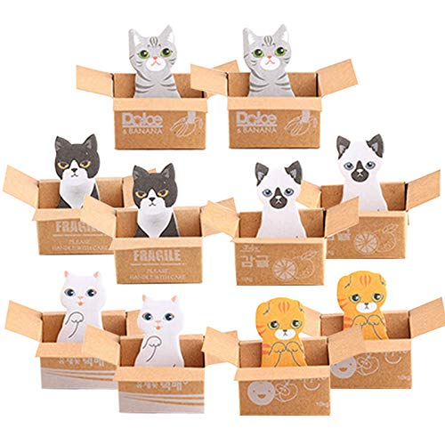 10 Pack Cute Cat Sticky Notes Cat Shape Sticky Notes Bookmark Page Flags Self-Stick Memo Notes Index Tab Reminder, 5 Designs