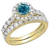 Dazzlingrock Collection 1.85 Carat (ctw) 14K Round Blue & White Diamond Bridal Engagement Ring Set, Yellow Gold, Size 9