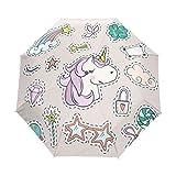 Unicornio lindo paraguas mujeres niñas hombres cierre automático pequeño bolsos lluvia domingo señoras 3 plegable