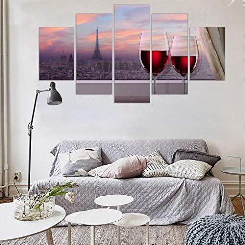 XUEI Cuadro Moderno En Lienzo 5 Piezas Póster De Arte Moderno Oficina Sala De Estar O Dormitorio Decoración del Hogar Arte De Pared Paisaje de la Ciudad del Vino Tinto 150x80cm(Enmarcado)