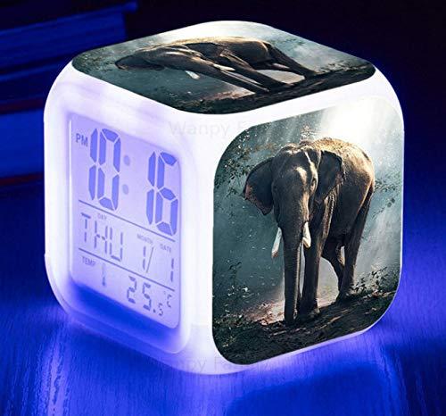 HHKX100822 Elefant Led Wecker Bunten Wecker Vier-Uhr-Kinder Kreative Geschenk Kleine Wecker P