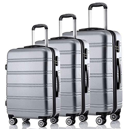 3er Reisekoffer-Set Trolley Koffer Hartschalenkoffer mit Sicherheits-Zahlenschloss und 4 Gummirollen, Ineinander stapelbar, L-XL-XXL (Silber)