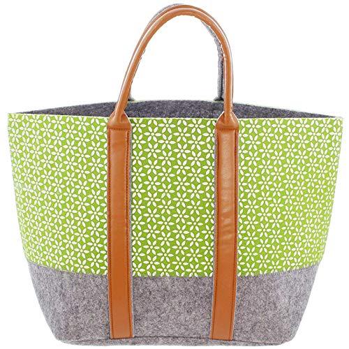 SIDCO Filztasche Shopper Tragetasche groß Einkaufstasche Filz Handtasche grau grün