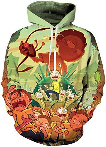 Chaos World Herren Kapuzenpullover Cartoon 3D Druck Grafisches Pullover Langarm Sweatshirt Mit Taschen(S,Enkelkinder)