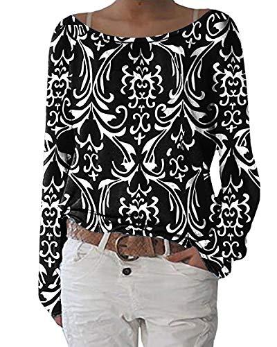 ZANZEA Damen Langarmshirts Lose Blumen Bluse U-Ausschnitt Oversize Sweatshirt Oberteil 01-blumen3 EU 48/Etikettgröße 2XL