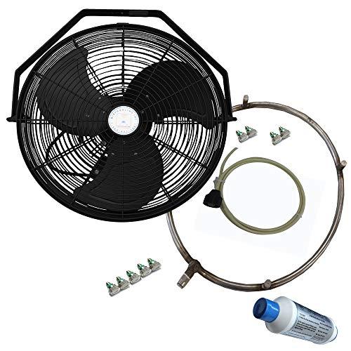 Misting Fan - Patio Mist Fan - Outdoor Mist Fan - For Residential, Commercial, Restaurant and Industrial Misting Application (18 Inch Black Fan)