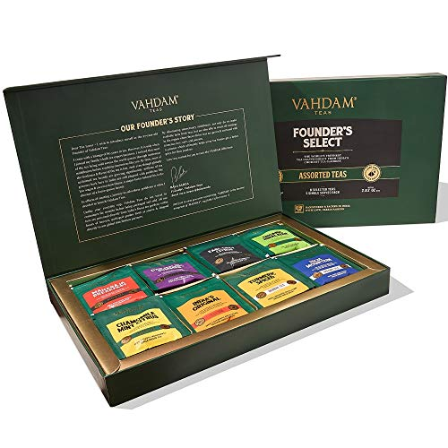 VAHDAM, Set de Regalo Surtido - 40 Bolsitas de Te de 8 Sabores en una Caja de Regalo | Ingredientes 100% Naturales | Los Mejores Regalos de Navidad, Set Perfecto para las Fiestas