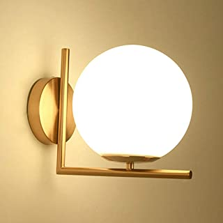 Mengjay LED Appliques lámparas de pared de bola de cristal, E27, Bola Luz de pared, Moderno Apliques de pared,Bombilla no incluida,Para Dormitorio Pasillo Lámpara de pared(Dorado)