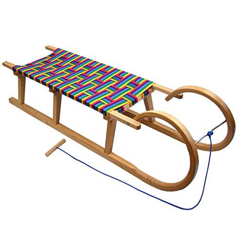 Babys-Dreams BAMBINIWELT Holzschlitten Hörnerrodel mit Zugseil, Sitzfläche aus Kunstfasern im Regenbogendesign,120cm