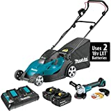 Makita XML02PTX1 18V X2 (36V) LXT Lithium-Ion Cordless 17' Lawn Mower Kit (5.0Ah) and Brushless Angle Grinder