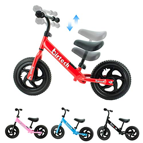 Birtech Laufrad Kinder ab 1 2 3 4 Jahre Balance Fahrrad 12 Zoll Kinderrad Lauffahrrad Sport Fahrrad mit Stahlrahmen, Verstellbarer Lenker & Sitz für Kinder,Rot