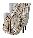 VCNY Decorative Throw Blanket: Cherry Blossom Design Accent for Couch or Bed, Colors: Dark Beige White Pink Black