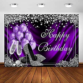 COMOPHOTO Silver Purple Birthday Photography Backdrops 7x5ft Purple Balloons Silver High Heels Champagne Diamond Adult Women Birthday Party Banner Decoration for Photo Booth Photoshoot Background