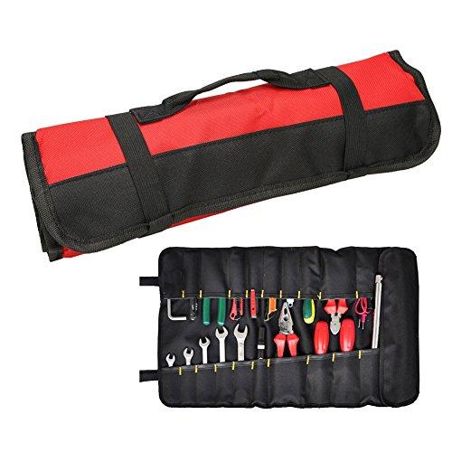 QEES ツールケース ツールバッグ 道具袋 工具バッグ 車用バッグ 58.5*35cm 労働者用 便利 600Dオックスフォード 耐震 防水 多機能 箱 便利 ハンドル付きレッド 巻き ツールロール ブラック グリーン ブルー 赤 320g (赤)