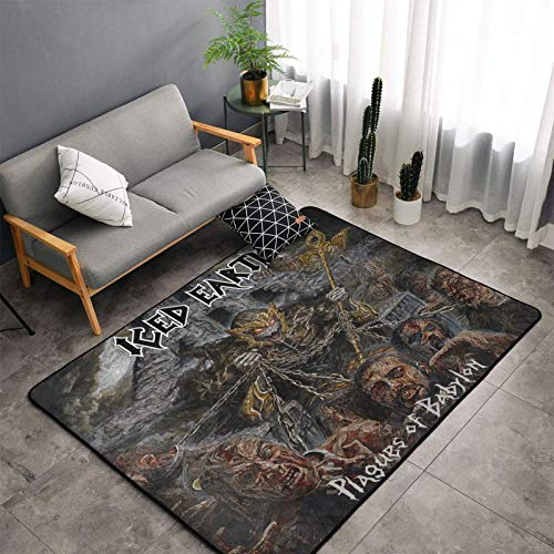 Iced Earth Plagues of Babylon Modern Luxury Indoor Plush Rug for Living Room Room Furry Carpet, Non-Slip Rug Bedroom Rugs 60 X 39 Inches