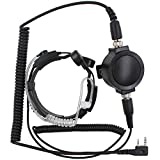 KENMAX Military Tactical IP54 Waterproof Big PTT Telescopic Throat Mic Earpiece Headset for Walkie Talkie CB Ham Radio Baofeng UV-89 BF-388A Kenwood TK-2400V4P TK-3402I16P