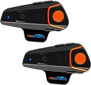 FODSPORTS インカム バイク BT-S2改良版 3riders 2人同時通話 高音質 FMラジオ対応 IPX6防水 Bluetoothビーコム 連続使用10時間 バイク通信機 Type-C充電ポート ツーリング用 いんかむ 最大通信距離...
