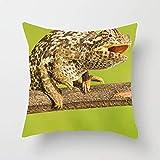 N\A Animal Chameleon Lizard Fashion Print Square Throw Pillow Cover Funda de cojín para Sofa Bedroom Car