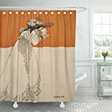 Semtomn Shower Curtain Fine Isolde from The Studio Beardsley Aubrey 1872 Literature 66'x72' Home Decor Waterproof Bath Bathroom Curtains Set with Hooks