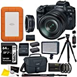 Canon EOS R 24-105mm IS USM Mirrorless Camera with EF Lens Adapter, Lacie Rugged 2TB Hard Drive, Lexar 64GB Memory Card, Video Light, Filter Kit, Tripod, Spare Battery, Camera Bag, Cleaning Kit Bundle
