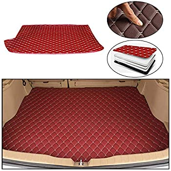Maite Custom Car Trunk Mats for Volkswagen Polo Hatchback 2014-2018 Leather Car Boot Mats Waterproof Cargo Liner Protector Cover Red