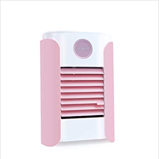 Cxefq Mini Enfriador de Aire, Mini Air Cooler, Ventilador USB Altavoz Bluetooth 5 en 1 pequeño Aire Acondicionado con 7 Luces LED de Colores, para el hogar/Oficina-Rosado