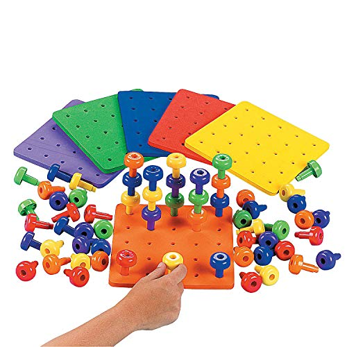 Stack It Peg Game with Board Occupational Therapy for Autism, Various Colors, (1 Board and 30 Pegs)