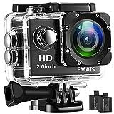 FMAIS Caméra d'action Full HD 1080P Caméra étanche LCD 2 Pouces LCD sous-Marine Caméra de Sport Grand-Angle plongée à 140 ° avec 140 Piles Rechargeables et Kits de Montage (Noir)