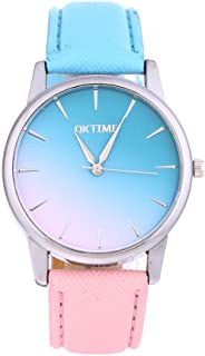 GLOBEAGLE Women Casual Watch Candy Color Leather Belt 2-Color Strap Student Watch - B