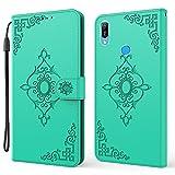 nancencen Kompatibel mit Huawei Honor Play 8A / Honor 8A Pro Handyhülle, Hochwertiges PU Lederhülle [Kartenfach] [Standfunktion] flip case Schutzhülle Stoßfest Fallschutz Cover - Minzgrün